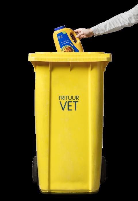 Gele container frituurvet